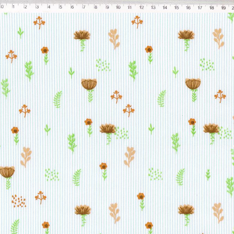 Fernando Maluhy - Coleção Botânica - Floral Laranja Com Listras - 50cm X 150cm