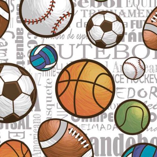 Fuxicos e Fricotes Coleção Esportes - Bolas Esportes Soltas - 50cm X150cm