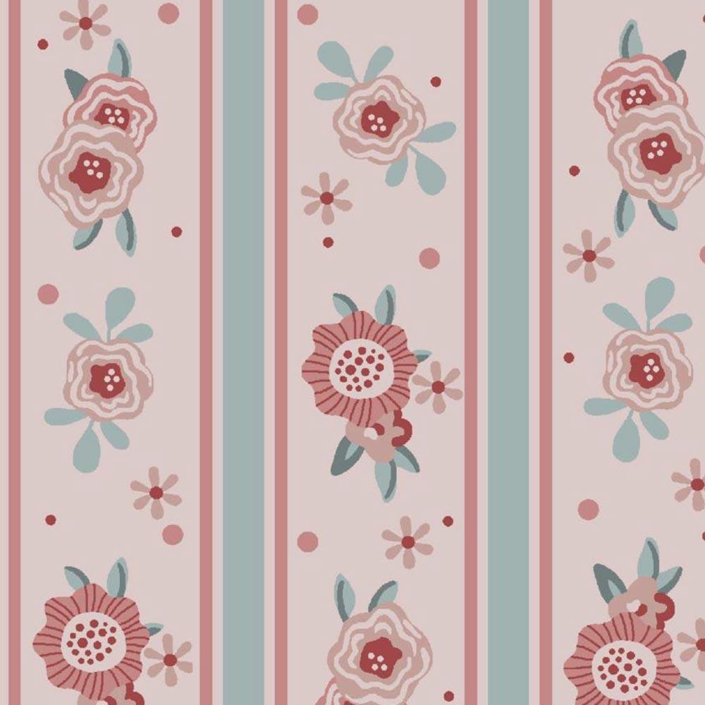 Fuxicos e Fricotes Coleção Florisbella Estampa Listras Floral Rosa 50cmX150cm