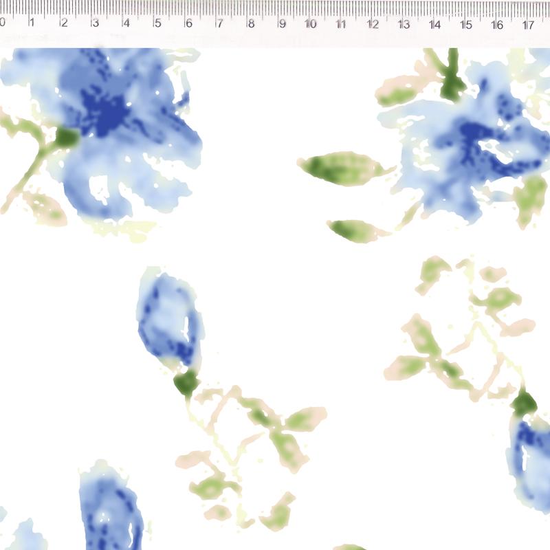 Fernando Maluhy - Coleção Florata - Põe Na Mesa Decor Sarja Floral Azul Com Fundo Branco - 50cm X150cm