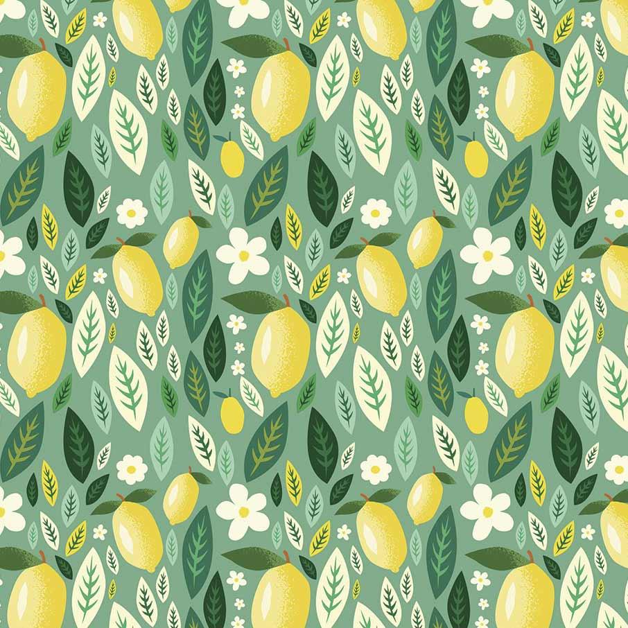 Fabricart Coleção Siciliano - Limão e Folhas - 50cm x 150cm
