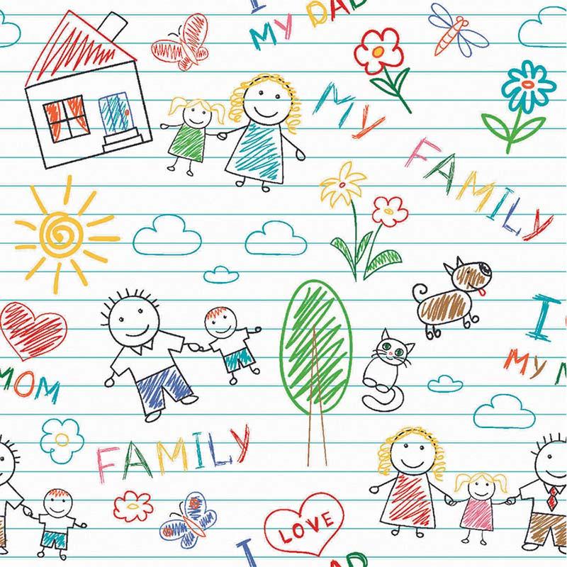 Tricoline Fabricart - Coleção My Family / Estampa My Family