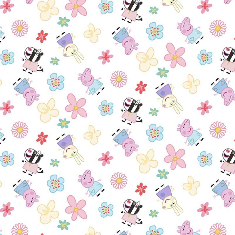 Fabricart Coleção Turma da Peppa - Estampa Turma da Peppa com Flores 50cmX150cm