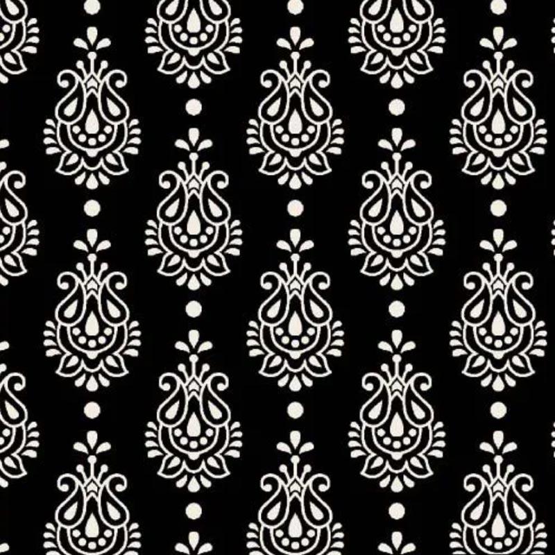 Fuxicos e Fricotes - Coleção Finesse - Arabesco Finesse Preto - 50cm X150cm