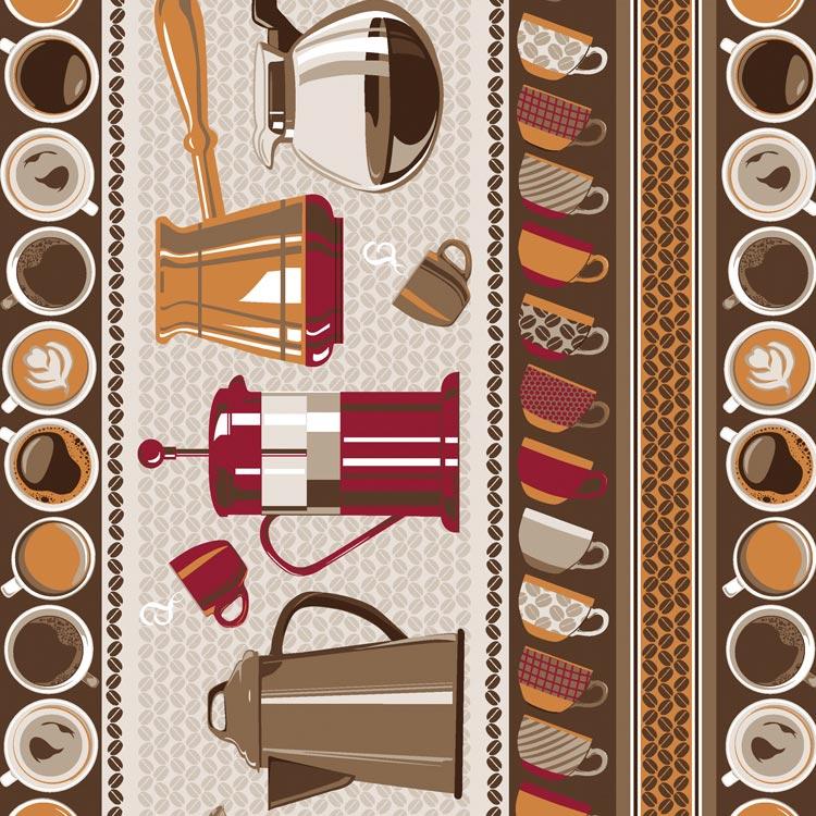 Fernando Maluhy - Coleção Cafeteria - Barrado de Utensílios de Café - 50cm X150cm
