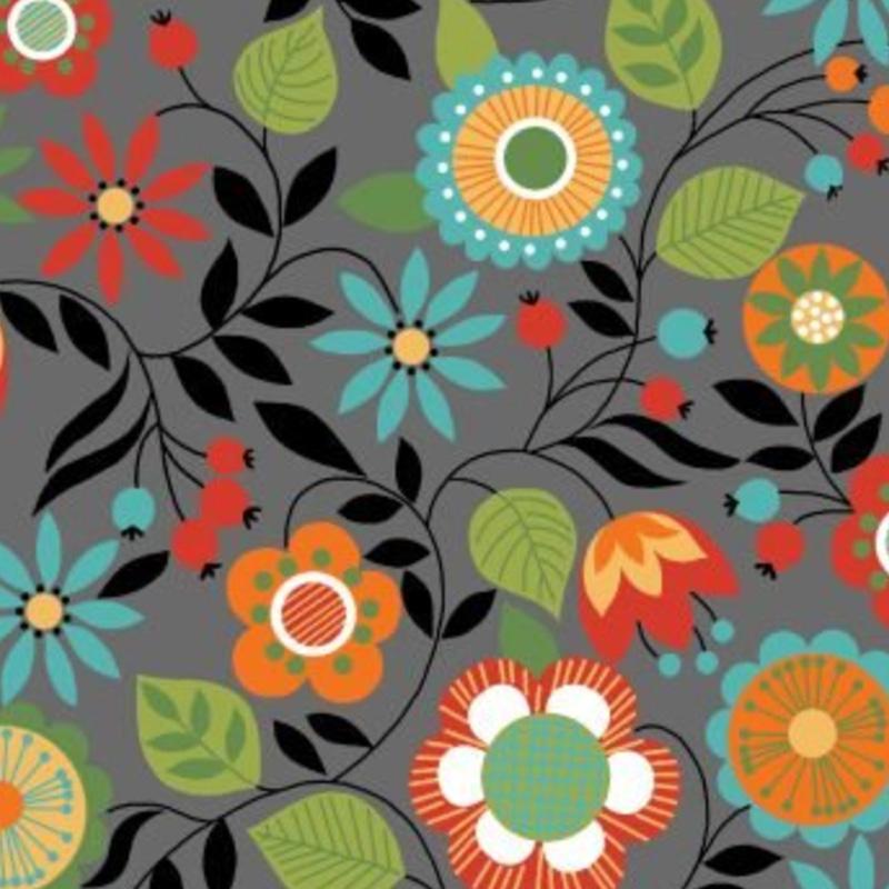 Eva e Eva Coleção Bohemia - Estampa Bohemia Floral Cinza - 50cm x 150cm