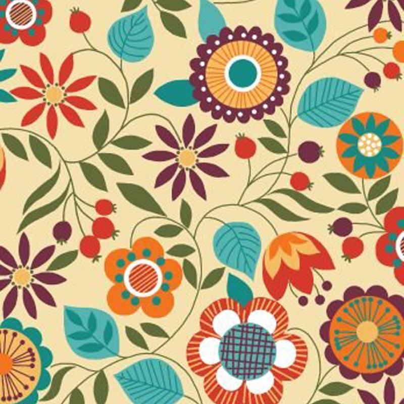 Eva e Eva Coleção Bohemia - Estampa Bohemia Floral Creme - 50cm x 150cm