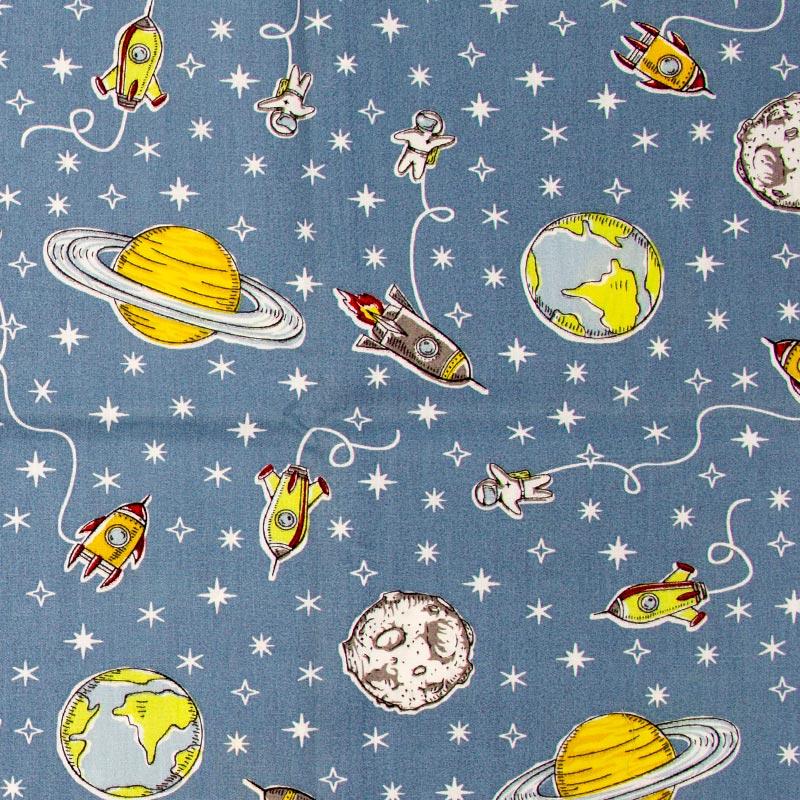 Caldeira - Astronauta/Espaçoinave/Planeta Com Fundo Azul - 50cm x 150cm