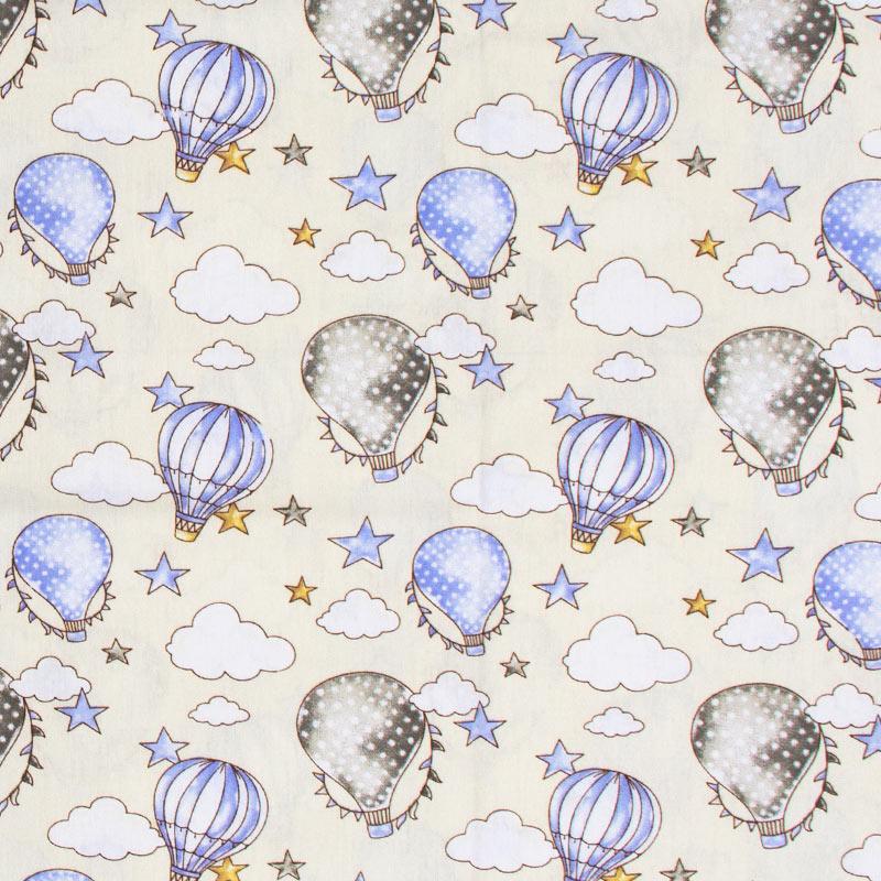 Caldeira Coleção Circus - Estampa Ballon Creme com Azul - 50cm x 150cm