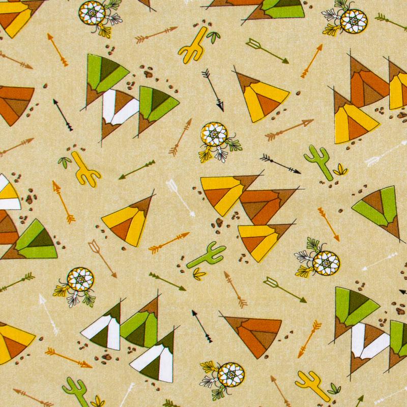 Caldeira - Cabanas Verde Amarelo Com Fundo Bege - 50cm x 150cm