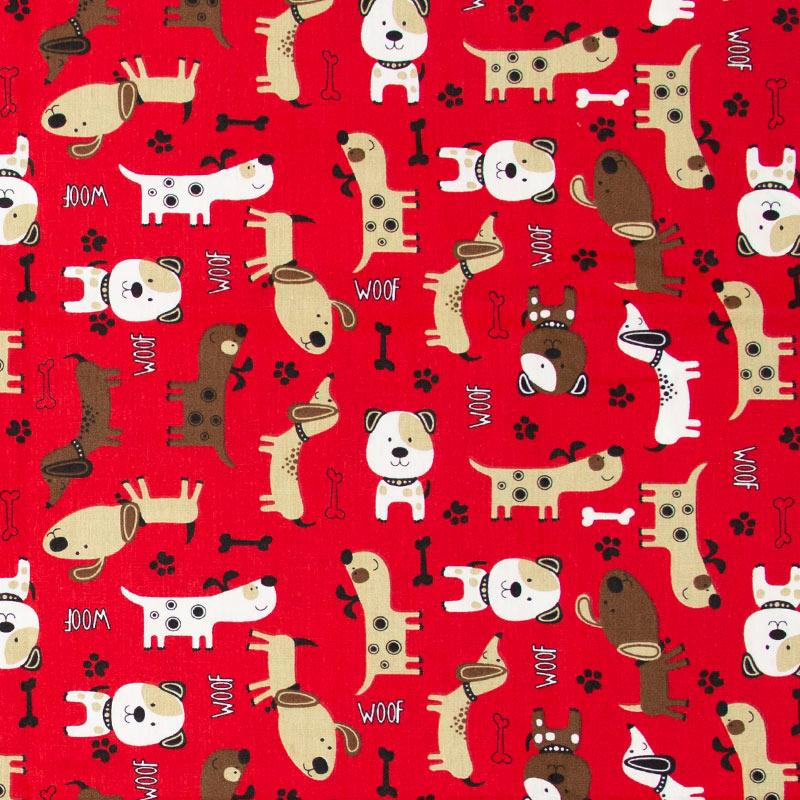 Caldeira - Cachorros /Patinhas/Ossos Com Fundo Vermelho - 50cm x 150cm