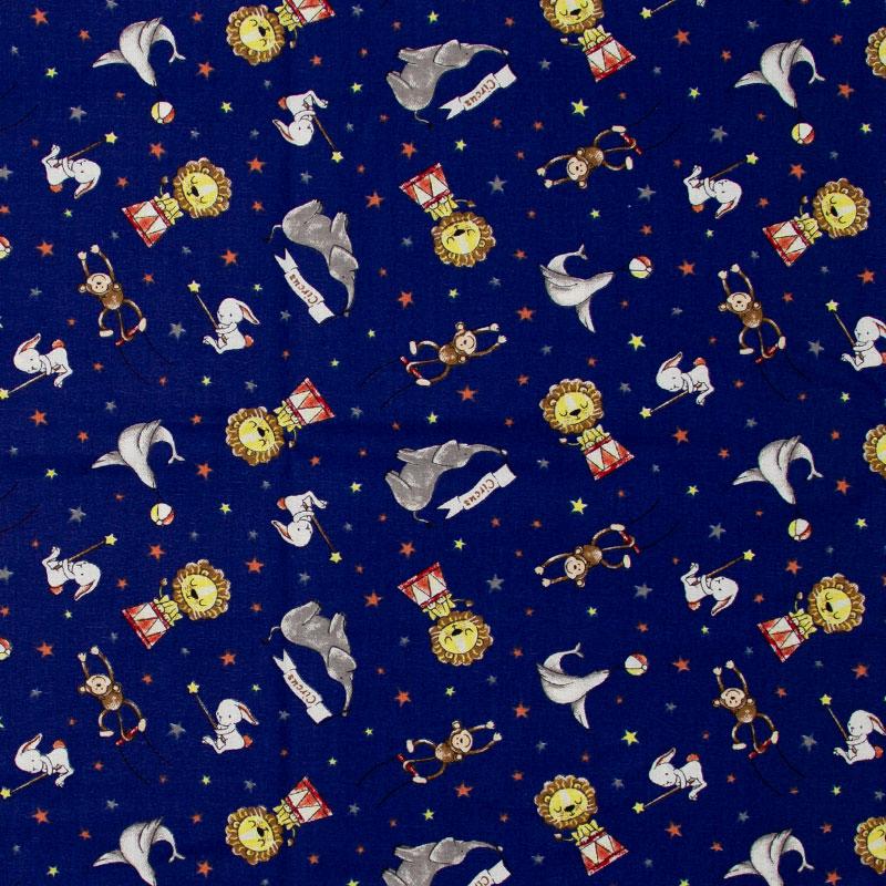 Caldeira - Circo Animais Diverços/Estrelas Com Fundo Azul Marinho - 50cm x 150cm