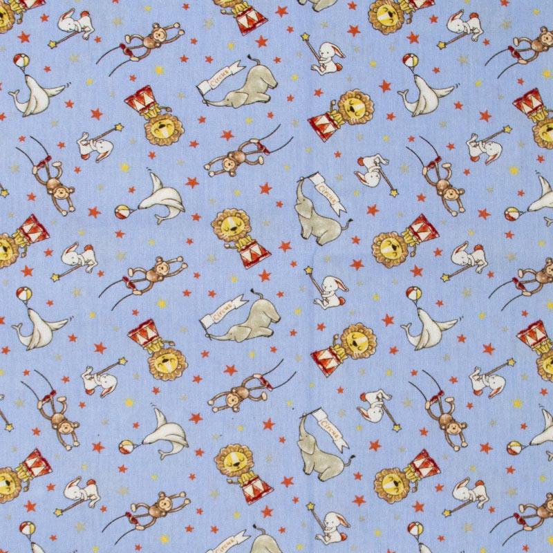 Caldeira - Circo Animais Diversos/Estrelas Com Fundo Azul - 50cm x 150cm