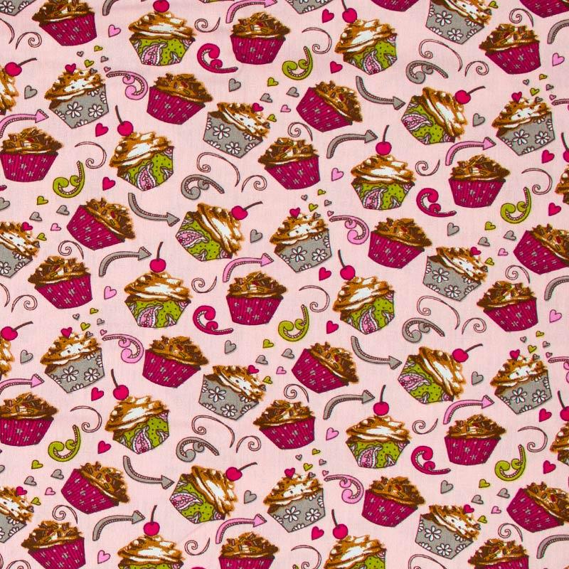 Caldeira - Cupcakes Rosa/Verde Com Fundo Rosa- 50cm x 150cm