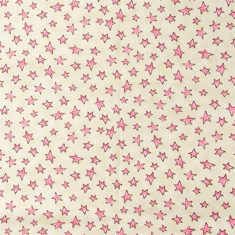 Caldeira Coleção Conto de Fadas - Estampa Estrelinha Rosa com Amarelo - 50cm x 150cm