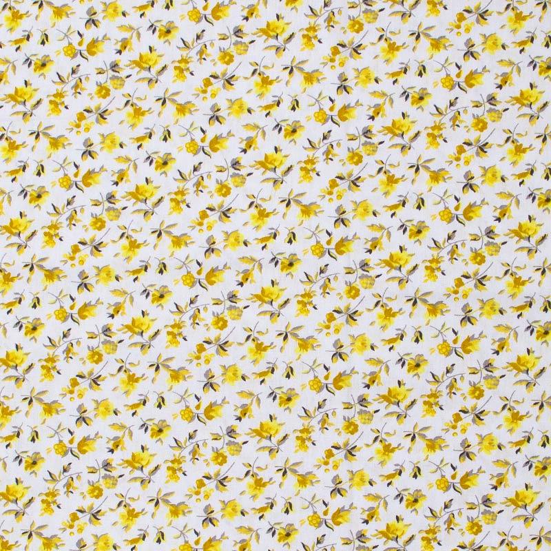Caldeira - Floral Amarelo Com Fundo Cinza - 50cm x 150cm
