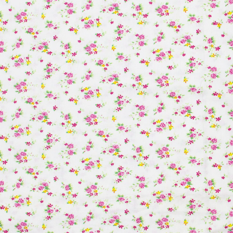 Caldeira - Mini Floral Rosa Com Fundo Branco - 50cm x 150cm