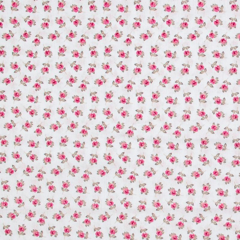 Caldeira - Mini Floral Rosa Com Fundo Cinza -  50cm x 150cm