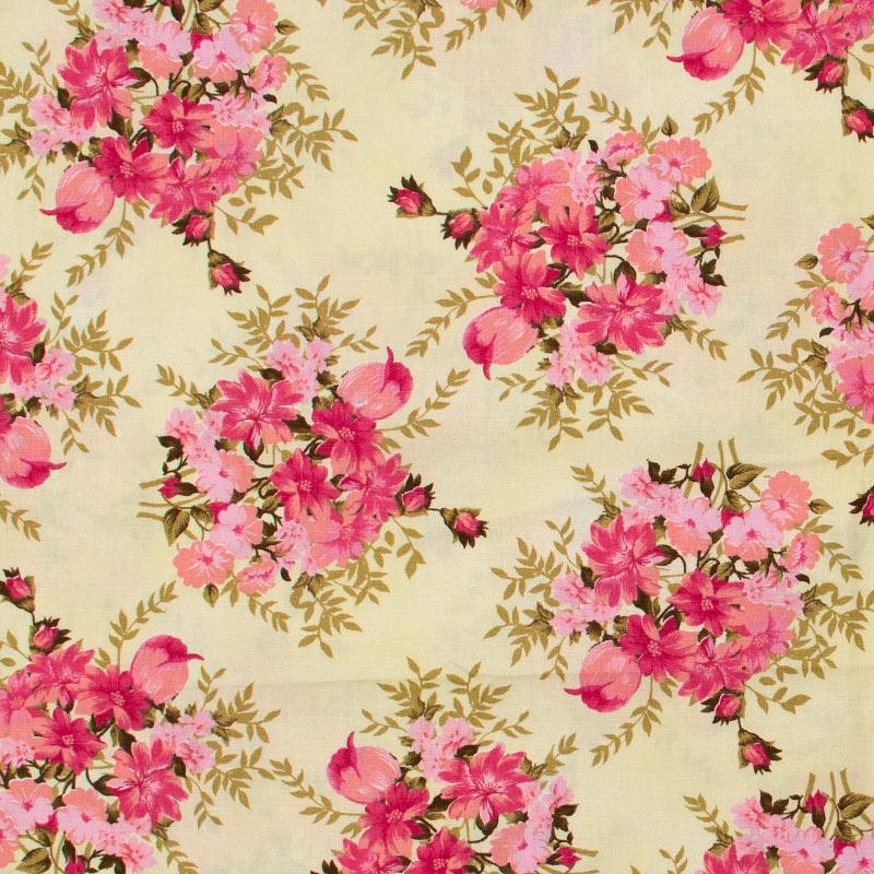 Caldeira - Floral Rosa Com Fundo Bege - 50cm x 150cm
