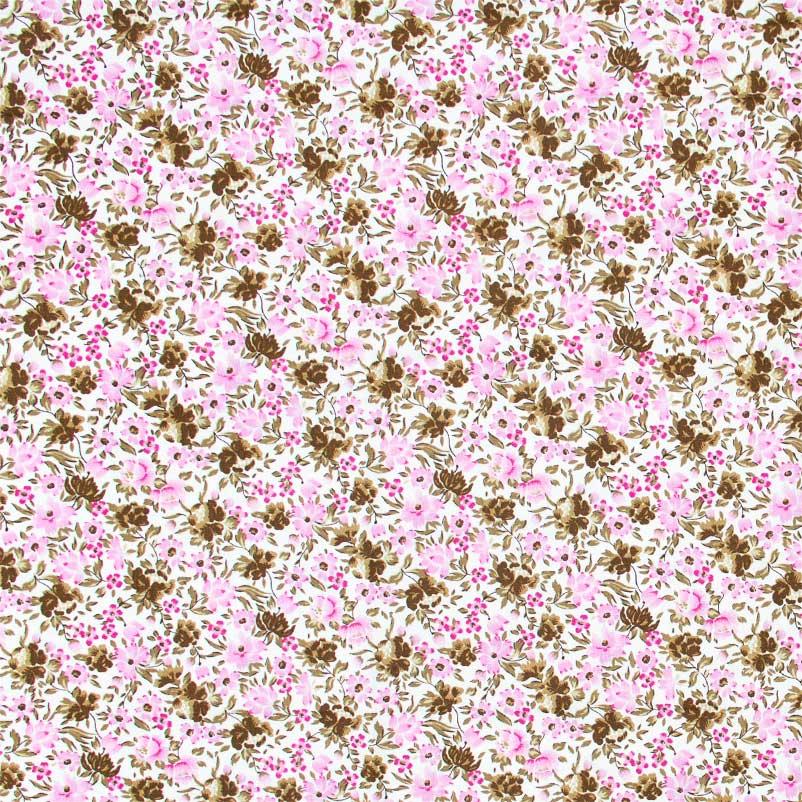 Caldeira - Floral Rosa Com Fundo Branco - 50cm x 150cm