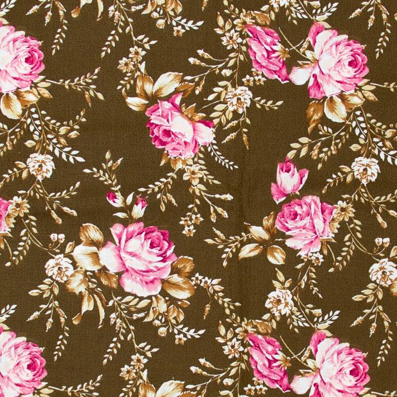 Caldeira - Floral Rosa Com Fundo Marrom - 50cm x 150cm