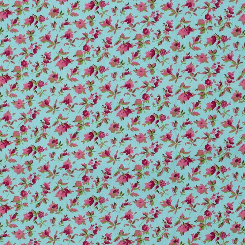 Caldeira - Floral Rosa Com Fundo Verde Agua - 50cm x 150cm