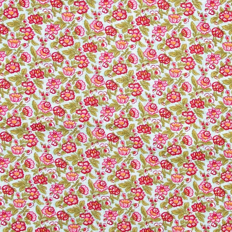 Caldeira - Floral VErmelho Com Fundo Verde Água - 50cm x 150cm