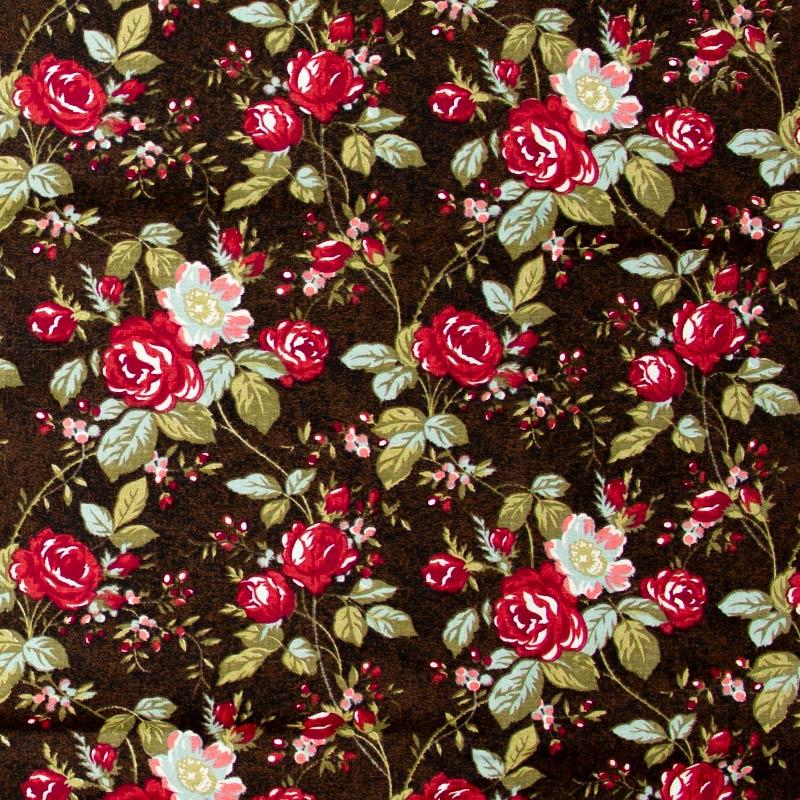 Caldeira - Floral Vermelho/Branco Com Fundo Marrom - 50cm x 150cm