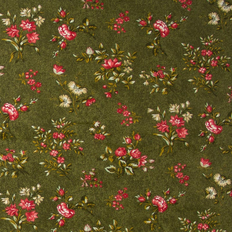 Caldeira - Floral Vermelho Com Fundo Verde - 50cm X150cm