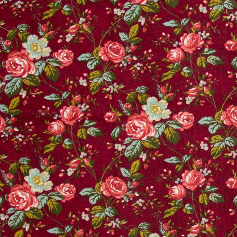 Caldeira -Floral Rosa Com Fundo Vinho - 50cm x 150cm