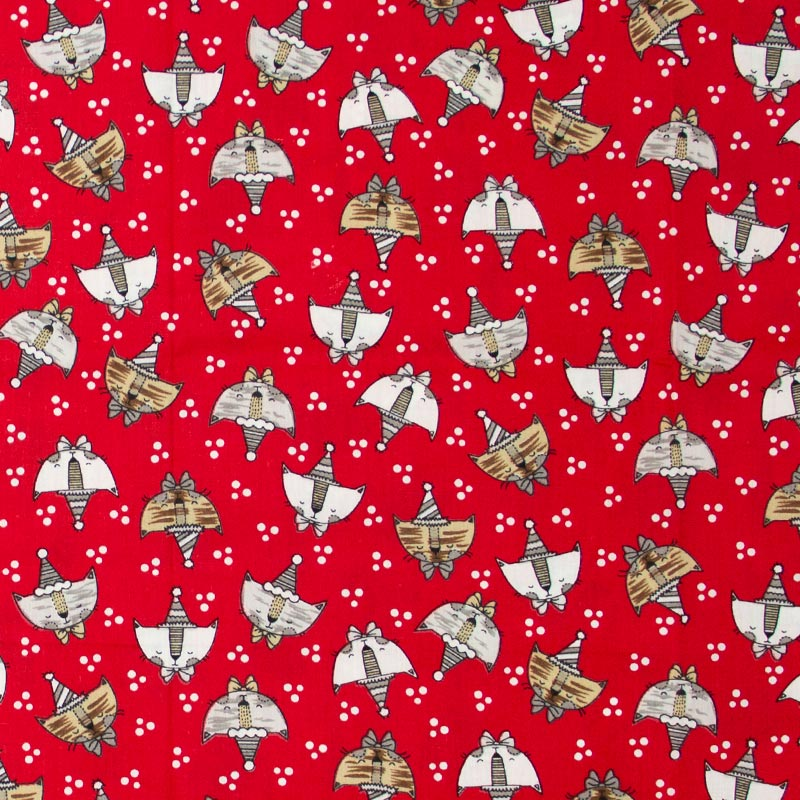 Caldeira - Gatos/Aniversariante Com Fundo Vermelho  - 50cm x 150cm