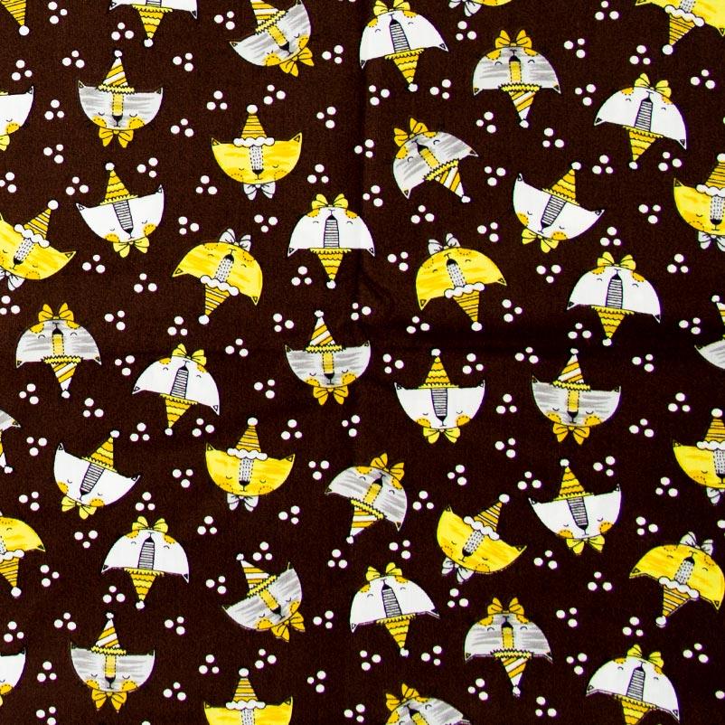 Caldeira - Gatos/Poá Branco Com Fundo Preto - 50cm x 150cm