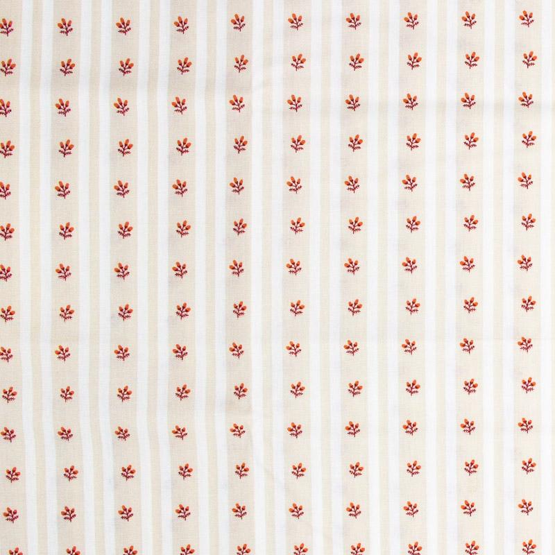 Caldeira - Listrado Bege/Branco com Flores Vermelho - 50cm x 150cm