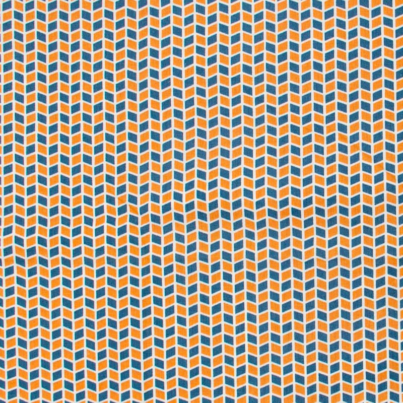 Caldeira - Losangos laranja/Azul Petróleo - 50cm x 150cm