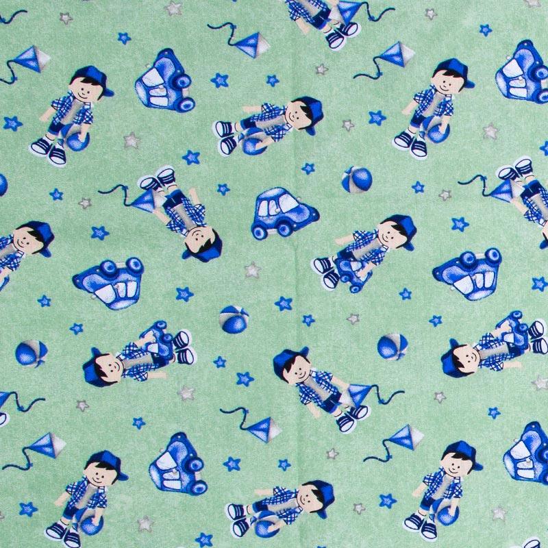 Caldeira - Menino Carrinho/Pipa/Estrela/Bola Com Fundo Azul- 50cm x 150cm