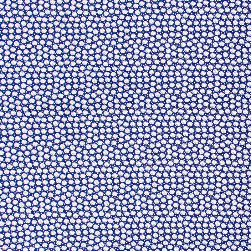 Caldeira - Poá Mini Flores Branco Com Fundo Azul Marinho - 50cm x 150cm
