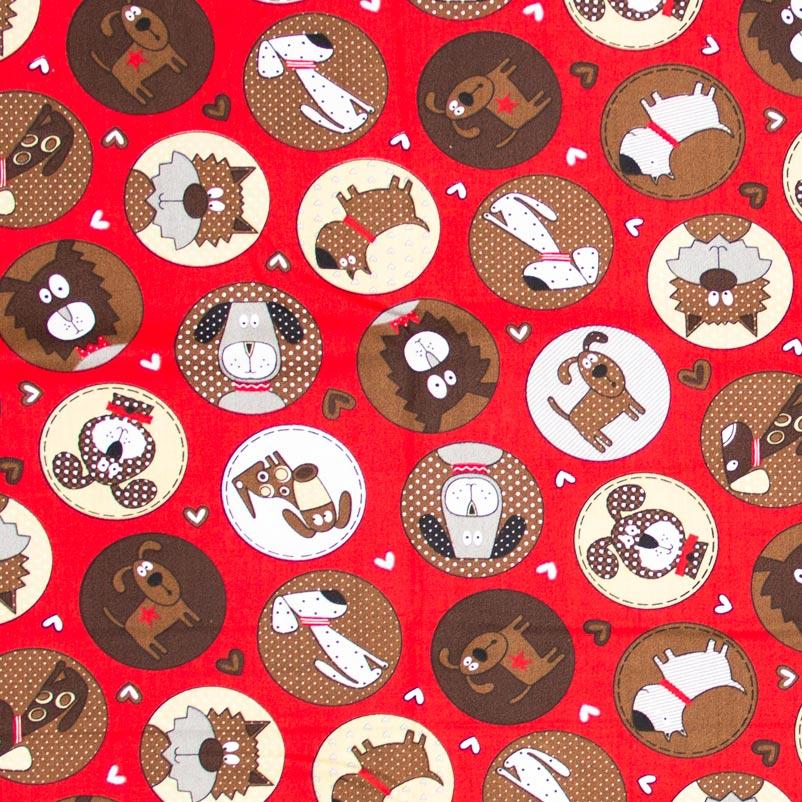 Caldeira - Cachorros Com Fundo Vermelho - 50cm x 150cm