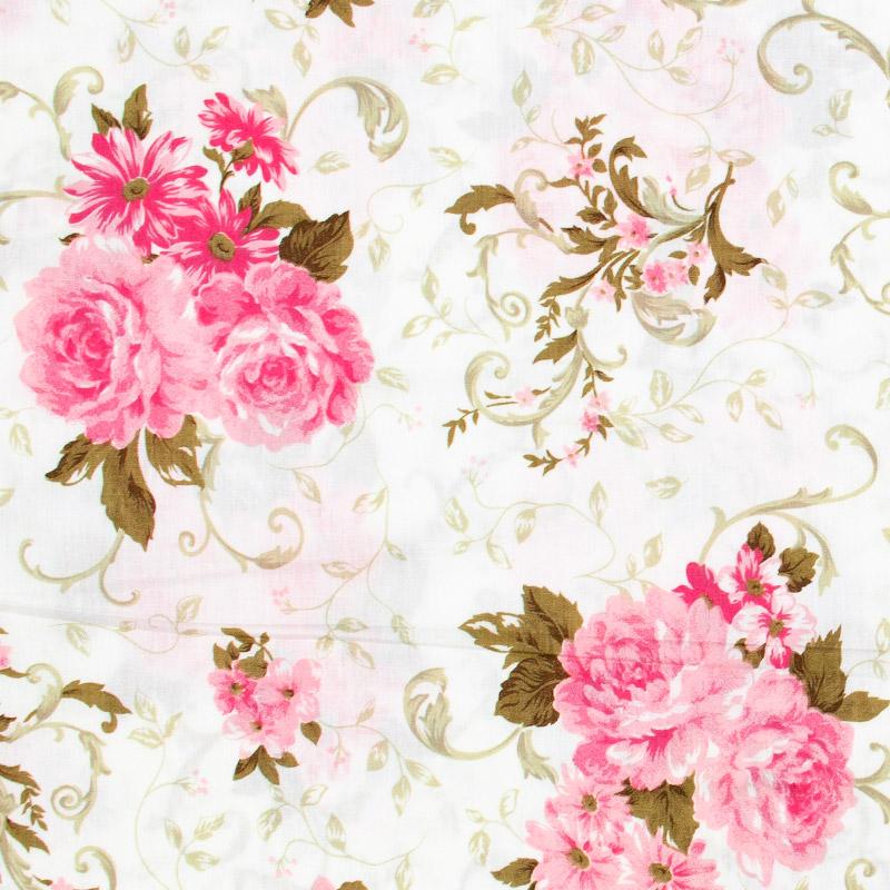 Floral Grande Rosa Folhas Marrom - 50cm x 150cm