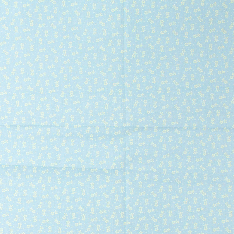 Caldeira - Mini Floral Branco Com Fundo Azul - 50cm X150cm
