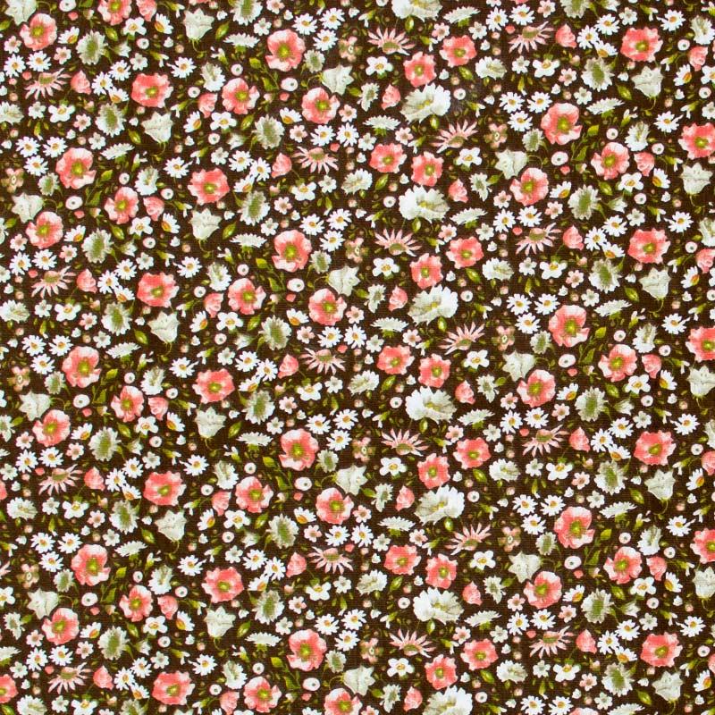 Mini Floral Com Fundo Marrom - 50cm x 150cm