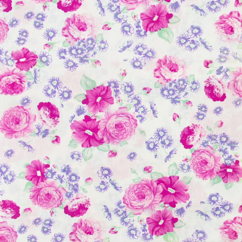 Casa Criativa - Rosas Grandes Flores Azul Com Fundo Branco - 50cm X150cm