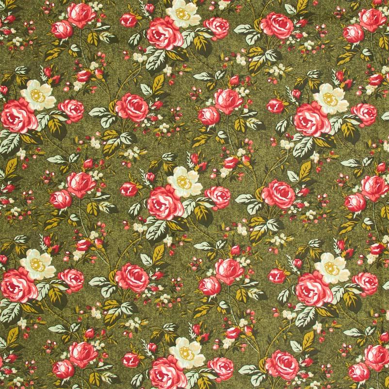 Casa Criativa - Floral Rosa Com Fundo Verde - 50cm X150cm