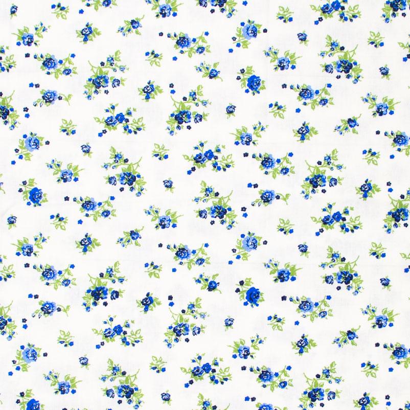 Catarinense - Mini Floral Azul Com Fundo Branco - 50cm X150cm