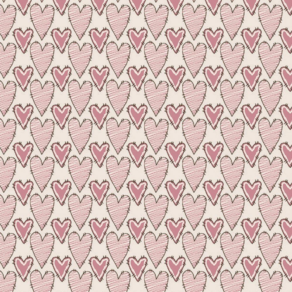 Fuxicos e Fricotes - Coleção Bonecas de Pano - Corações Riscado Rosa - 50cm X150cm