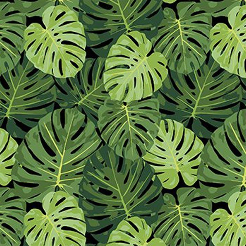 Eva e Eva Coleção Paraíso Tropical - Estampa Costela de Adão Preto - 50cm x 150cm