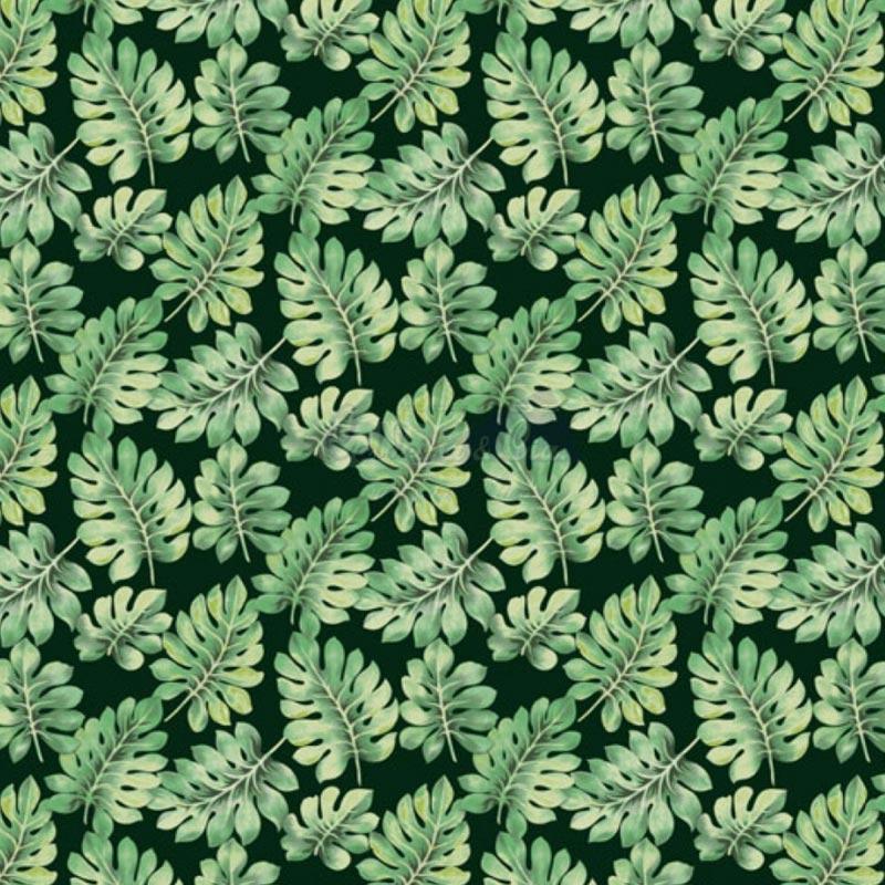 Caldeira Coleção Botanicals - Estampa Costela de Adão Verde com Preto - 50cm x 150cm