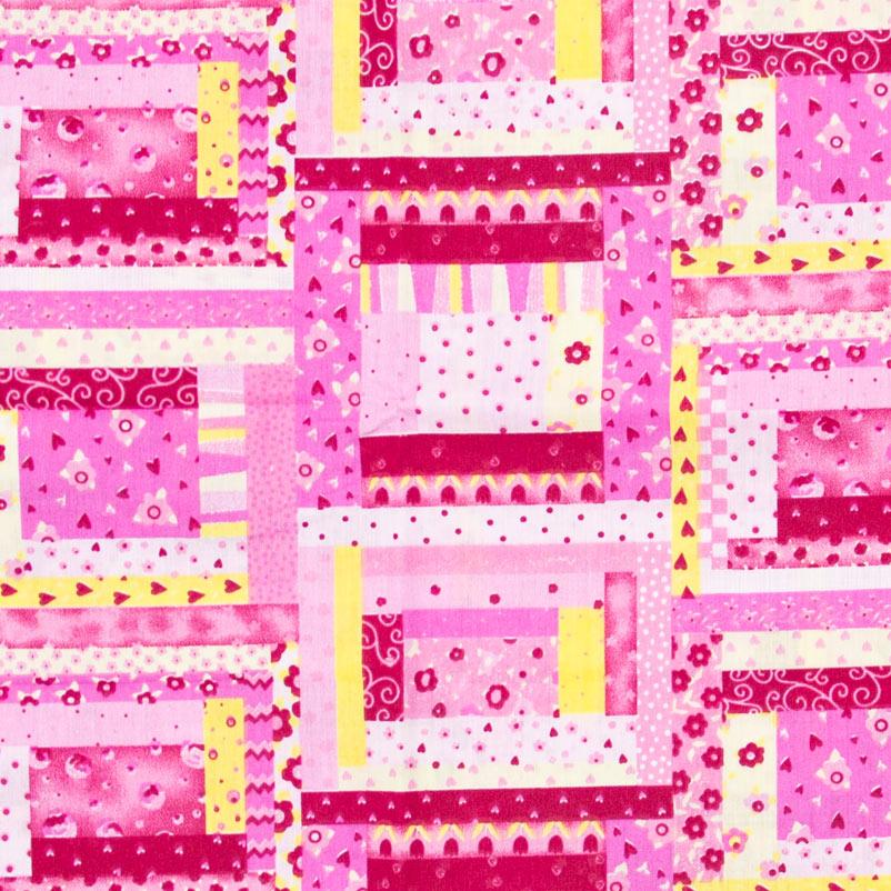 Retalhos Flores/Corações/Poá Rosa - 50cm x 150cm