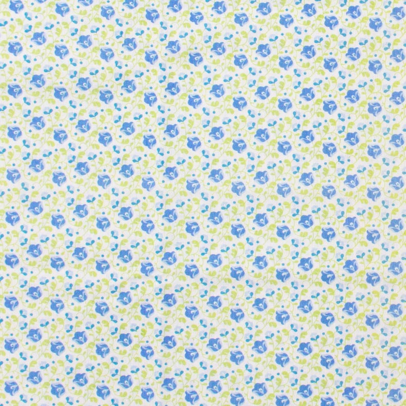 Dany - Floral Azul Folhas Verdes Com Fundo Branco - 50cm X150cm