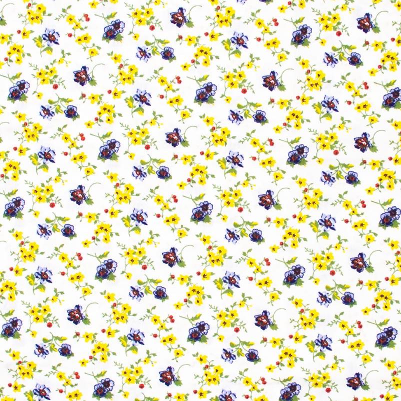 Decorart - Floral  Amarelo/Azul Com Fundo Cinza - 50cm x 150cm