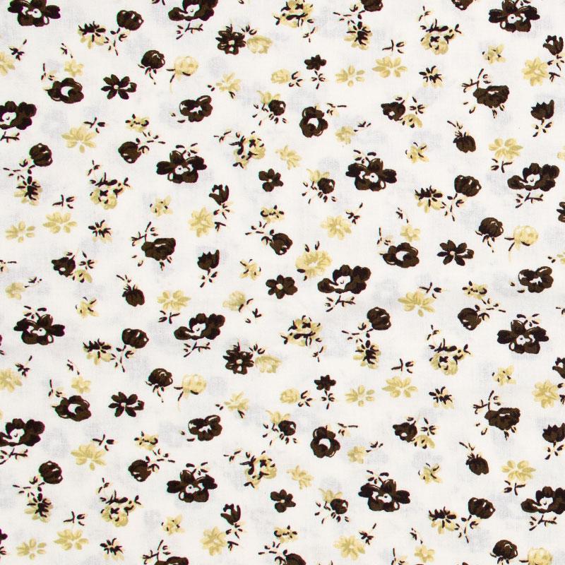 Decorart - Floral Preto/Bege Com Fundo Branco - 50cm x 150cm